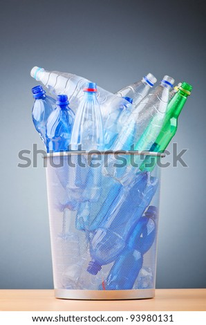 Concept of recycling with plastic bottles
