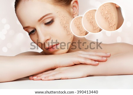 concept of rejuvenation and skincare. face of a beautiful girl with a problem skin  - stock photo