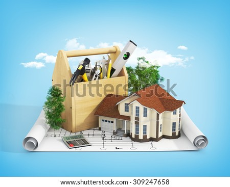Concept of repair and building house. Repair and construction of the house. Tool box near a house with trees on the blueprint. - stock photo