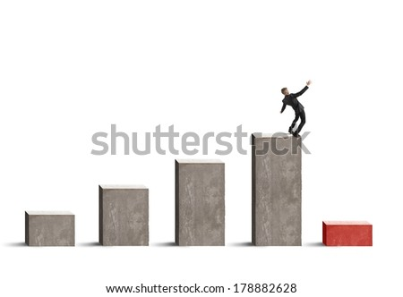 Concept of risk and crisis in business with stats bar - stock photo