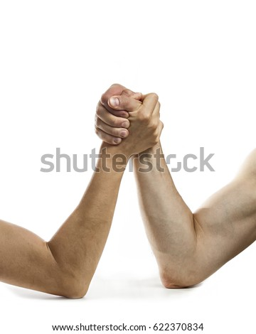 Concept of rivalry between two people. Image on white, isolated background.