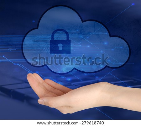 Concept of safe cloud data storage. Human hand  holding locked cloud icon. - stock photo