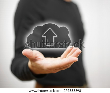 concept of safe cloud data storage or uploading you files - stock photo