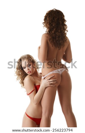 Concept of same-sex love. Exciting young girls  - stock photo