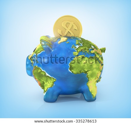 Concept of saving enviroment nature. Moneybox in the form of pig in earth texture with falling coin of money.