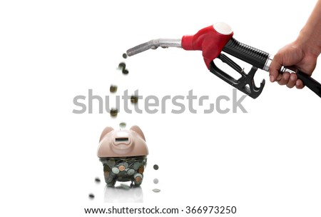 Concept of saving money Hand holding fuel nozzle pouring Thai coins on white background - stock photo