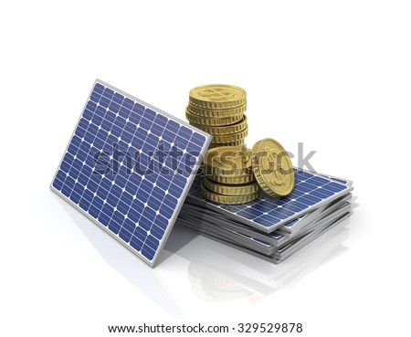 Concept of saving money if use solar panel. Stack of money on the stack of solar panels. - stock photo