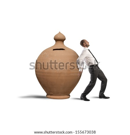 Concept of Savings protection with moneybox and businessman - stock photo