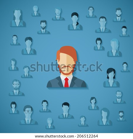 Concept of searching for professional stuff, head hunter job, employment issue, human resources management or analysing personnel resume. Rasterized illustration. - stock photo