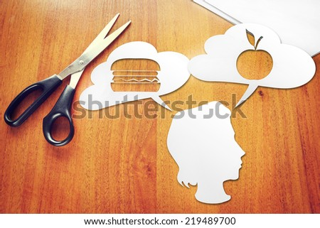 Concept of selecting a healthy diet - stock photo