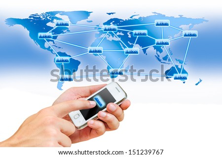 concept of share information by smart phone in bright blue tone