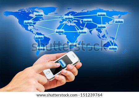 concept of share information by smart phone in dark blue tone