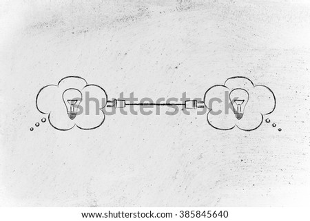 concept of sharing knowledge: thought bubbles with lightbulb connected with a plug - stock photo