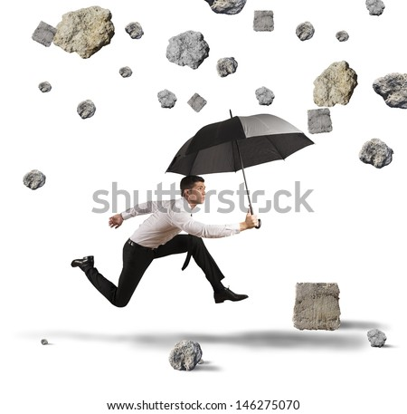 Concept of shelter from the storm of crisis - stock photo