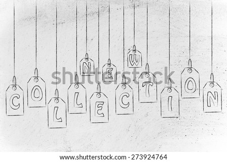 concept of shopping and retail industry: clothes or item price tags with the word New Collection - stock photo