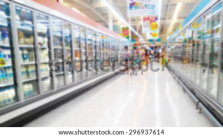 Concept of shopping at supermarket in blur background