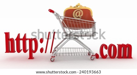 Concept of shopping on the web sites of commercial. 3d illustration on a white background