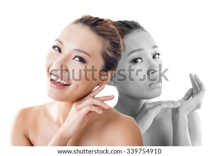 Concept of skin care woman before and after - portrait of the Asian woman face isolated on white background.