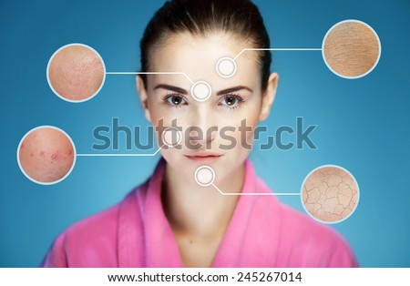 Concept of skincare and skin problems of face with infographic arrows - stock photo