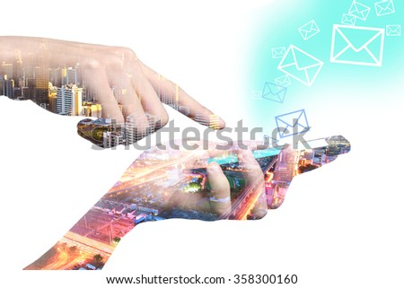 Concept of smart  phone double layers view of city scape. - stock photo