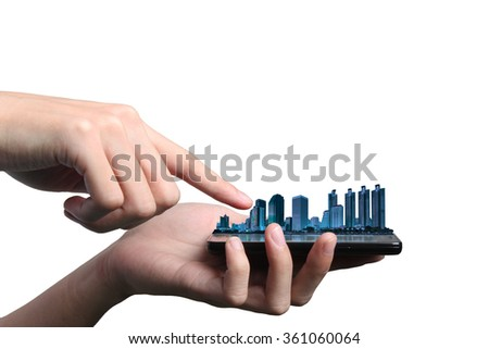 Concept of smart phone send e-mail from urban life. Double layers view of city scape and indoor hand image isolated on white background.  - stock photo