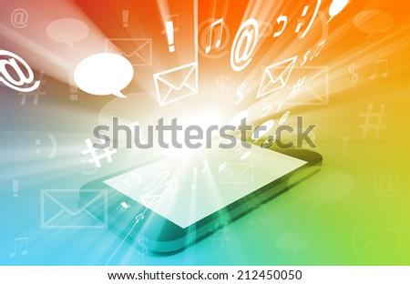 Concept of Social Media Sharing Digital Content - stock photo