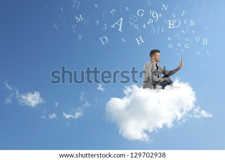 Concept of social network with businessman working over a cloud - stock photo