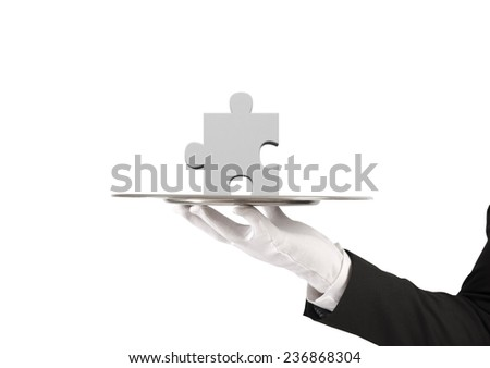 Concept of solution with the missing part of a puzzle - stock photo