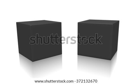 Concept of some black boxes isolated on a white background. - stock photo
