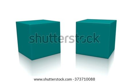 Concept of some cyan boxes isolated on a white background.