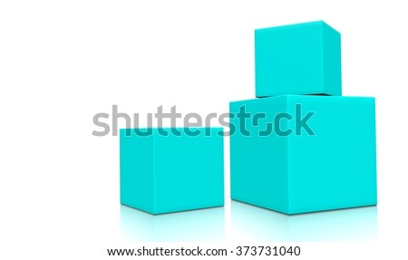 Concept of some light cyan boxes isolated on a white background.