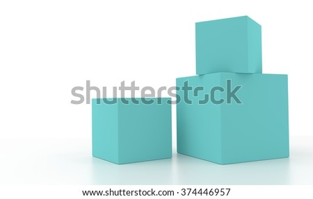 Concept of some pale cyan boxes isolated on a white background.