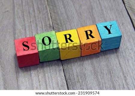 concept of sorry word on wooden colorful cubes - stock photo