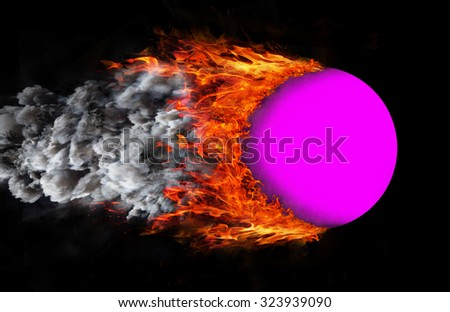 Concept of speed - Ball with a trail of fire and smoke - purple