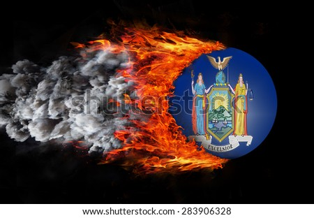 Concept of speed - Flag with a trail of fire and smoke - New York - stock photo