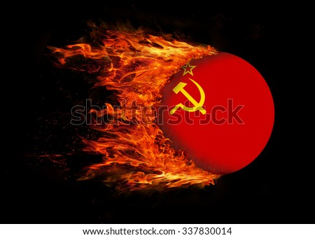Concept of speed - Flag with a trail of fire - USSR - stock photo