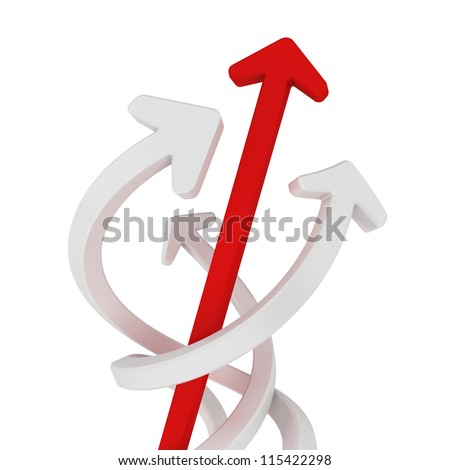 Concept of spining and twisting around. One straight red arrow running right through the others. - stock photo