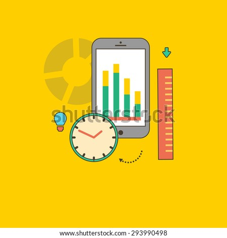 Concept of steps of the business process, worlflow. Data analysis. For web design, analytics, graphic design and in flat design on colored background. Raster version - stock photo