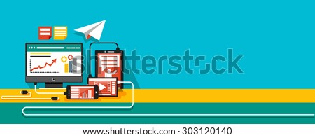 Concept of steps of the business process, worlflow. Data analysis. Modern devices with tools for analysis. For web design, analytics, graphic design and in flat design on colored. Raster version - stock photo