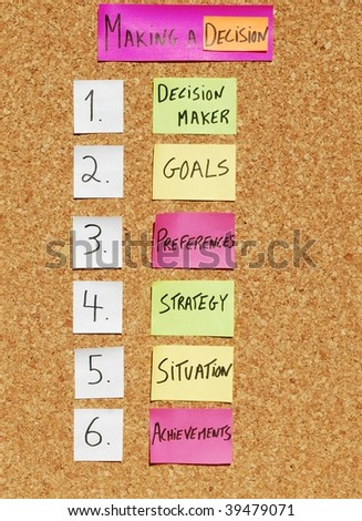 concept of steps to produce a decision on a corkboard with colorful notes