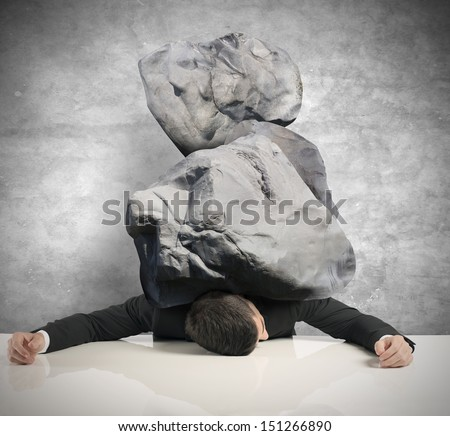 Concept of stress of a businessman - stock photo
