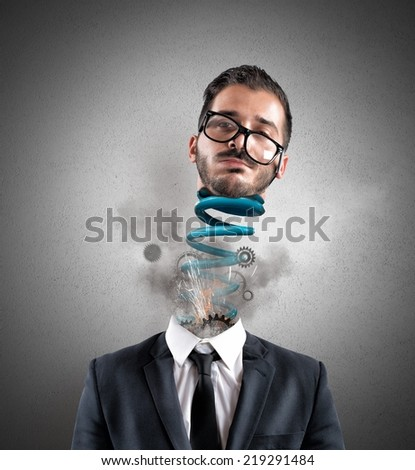 Concept of stress of a exhausted businessman at work - stock photo
