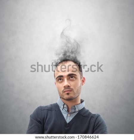 Concept of stress with businessman with reeky head - stock photo
