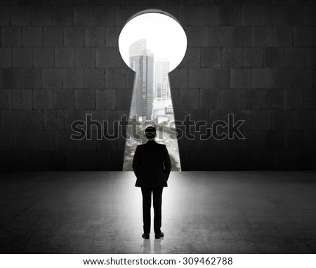 Concept of success business man looking through key hole - stock photo