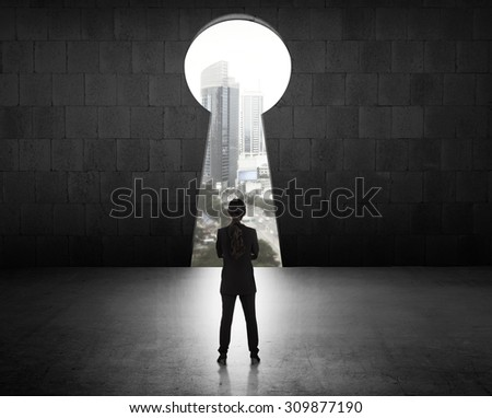 Concept of success business woman looking through key hole - stock photo