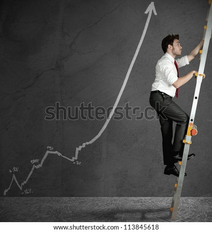 Concept of success in business with positive statistics - stock photo