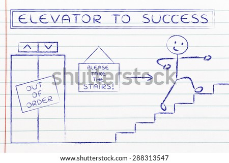concept of success requiring time and effort: out of order elevator, you gotta take the stairs (man version)