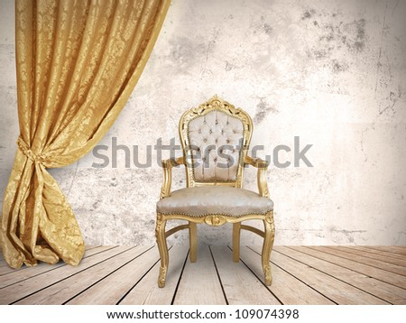 Concept of success with luxurious chair - stock photo