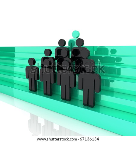 Concept of successful business team (green blue)
