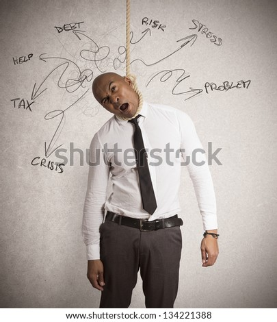 Concept of suicide due to problems of crisis - stock photo